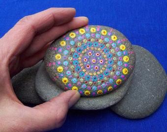 Hand painted beach stone with mandala design, painted mandala stone, decorated beach stone, zen stone, stone painting