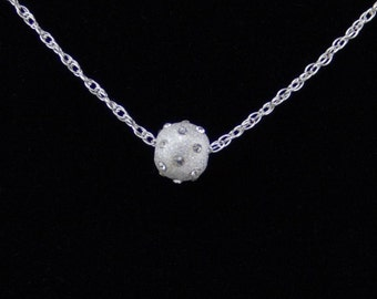 Sterling silver necklace with satin-finished sterling and crystal bead [N8]