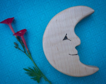 Wooden Moon Teether, Crescent moon shaped teething toy for babies, natural teether