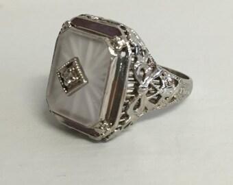 Antique Art Deco Filigree Camphor Glass Ring- 14 karat White Gold- Diamond