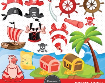 Pirate girl clipart for commercial use, pirate clip art, pirates clipart, pirate girl clipart, red pirate - CA241