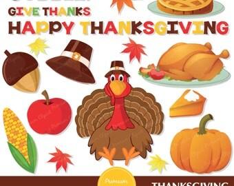 Thanksgiving clipart commercial use, turkey, harvest vector graphics, digital clip art, fall season - CA247
