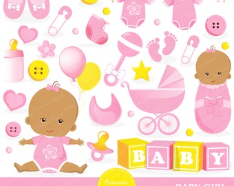 African American baby girl clipart, baby shower clipart, baby girl shower clipart, digital clip art, digital images - CA382