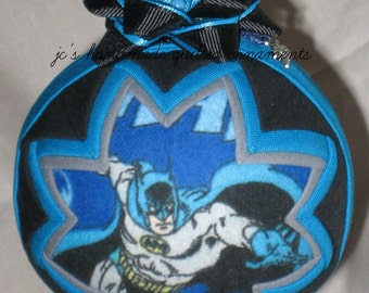 BATMAN QUILTED ORNAMENT Made From Batman Fabric,Batman Ornaments,Batman,Super Hero Ornaments,Dark Knight,Gotham City,Batman Collectibles