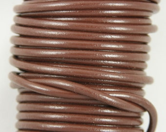 "MADE IN SPAIN 2 feet (24""/61cm) brown round leather cord, 5mm round leather cord, (5MAR)"