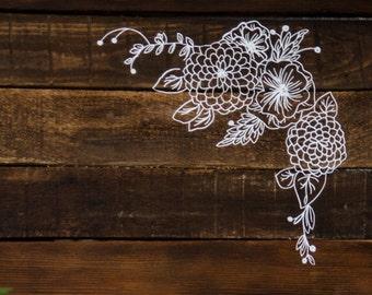 Hand drawn floral elements for digital design