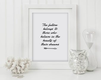 The Future Belongs To Those Who Believe In The Beauty Of Their Dreams, Inspirational Quote, Brush, Calligraphy, Typography, Wall Art
