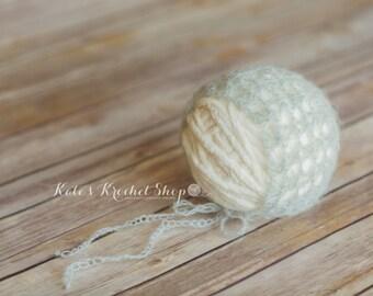 Ice Blue Mohair Bonnet Photography Prop