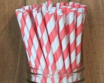 Coral Paper Straws, 25 Coral Stripe Straws, Paper Straws, Coral Wedding, Coral Baby Shower, Brdal Shower, Cake Pop Sticks, Made in USA