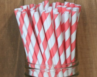 Coral Paper Straws, 25 Coral Stripe Straws, Paper Straws, Coral Wedding, Coral Baby Shower, Brdal Shower, Cake Pop Sticks, Made in USA