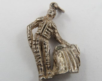 Sterling Silver Charm of a Matador with his Cape in his stance to Tease the Bull.