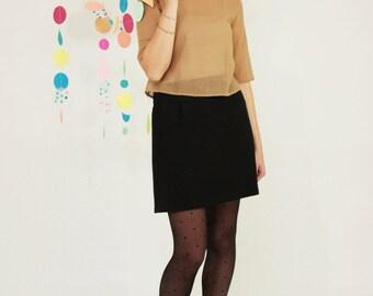 miniskirt high waist in black wool