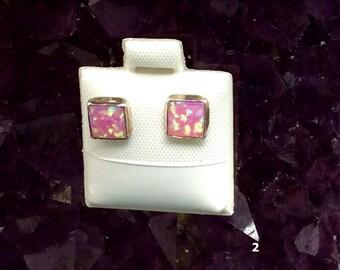 Opal Earrings | Opal Jewelry | October Birthstone | Gemstone Earrings | Gemstone Jewelry | Pink Earrings | Stud Earrings