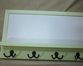 Message Center - Entryway Organizer - Key Holder - Cork Board - Dryerase - Coat Hooks - Wood - Chalk Board