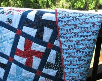 Patriotic Pinwheels quilt, FREE SHIPPING