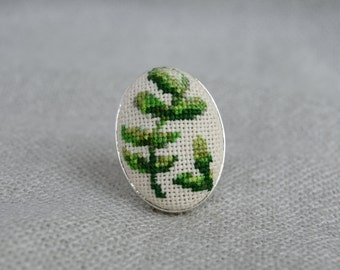 Green branch ring Cross stitch ring Embroidered jewelry Unique branch Handmade ring Green branch Green jewelry Gift for her Oval ring