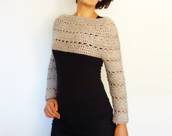 Crochet Pattern - Caramel Cropped Sweater/ Chunky Knit Shrug/Easy Fitted Handmade Top