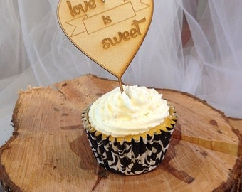 Cupcake toppers-Love is sweet. Set of 12