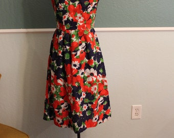 1950's Floral Applique Dress XS S