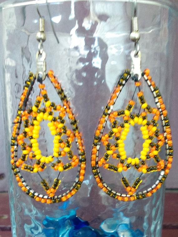 Spring Season San Francisco Giants Baseball Season- Czech Glass Seed Bead Bohemian Fall / Autumn Dangle Earrings
