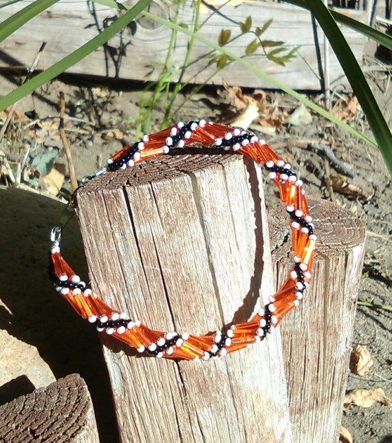 Spring Season San Francisco Giants Baseball Season- Spiral-Twisted Czech Glass Bead Fall/Autumn Breaclet