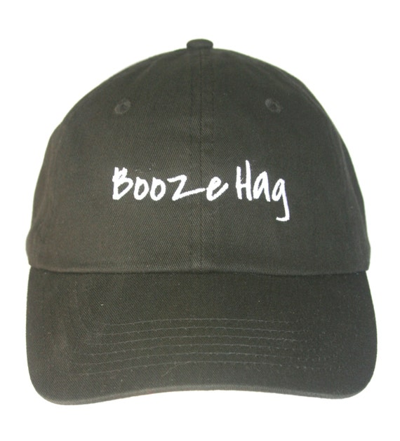 Booze Hag - Polo Style Ball Cap (Black with White Stitching)