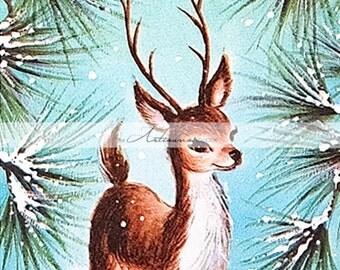 Vintage Little Buck Deer Woodland Christmas Card Image - Instant Art Printable Download - Altered Art Paper Crafts Scrapbook - Christmas Art