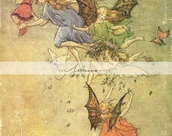 Printable Art Instant Download - Fairies in Flight Antique Vintage Fairy Image - Paper Crafts Scrapbook Altered Art - Children's Book Art