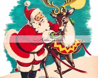 Vintage Santa Claus with Reindeer Christmas Image - Digital Download Printable Art - Paper Craft Scrapbooking Altered Art - Christmas Art