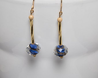 Sparkly blue and gold earrings-A273