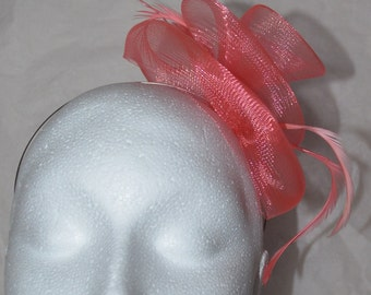 Flamingo pink  feather fascinator hand made