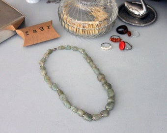 Aventurine Stone Necklace, Green Gemstone Necklace, Stone And Silver Necklace, Organic Jewelry