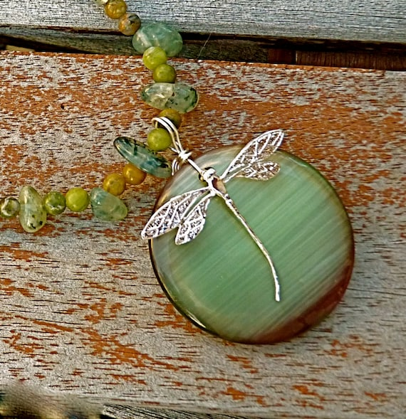 Dragonfly Necklace, green moonstone necklace Mothers Day gift for women Easter jewelry Spring necklace sterling silver bohemian jewelry mom