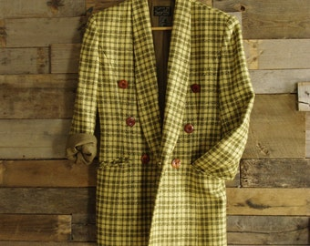 Vintage Double-Button Blazer By Suzelle Size 8 Metallic Gold Highlights Wool/Lurex Made in Hong Kong Free US Standard Shipping
