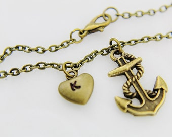 Bronze Anchor Charm Bracelet, Bronze Anchor Bracelet, Anchor Charm, Heart Bracelet, Anchor Bronze, Nautical Jewelry, Gifts for Her under 30