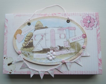 Handmade Caravan Plaque in Pink with Gift Box
