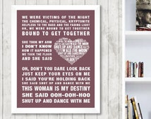 Walk The Moon Shut Up and Dance Music Love Song Lyrics Word Art Print Poster Heart Design Band Singer Wall Decor Framed Picture Gift
