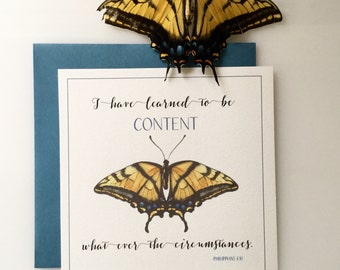 Tiger Swallowtail Butterfly Print with Scripture.  Philippians 4:11