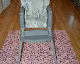 Pink & Brown Flowers Splat Mat / Art  Mat - Baby High Chair Washable Protection - Choose Your Patttern