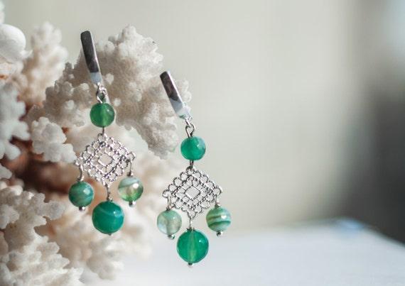 Green chandelier earrings Green agate earrings Light green