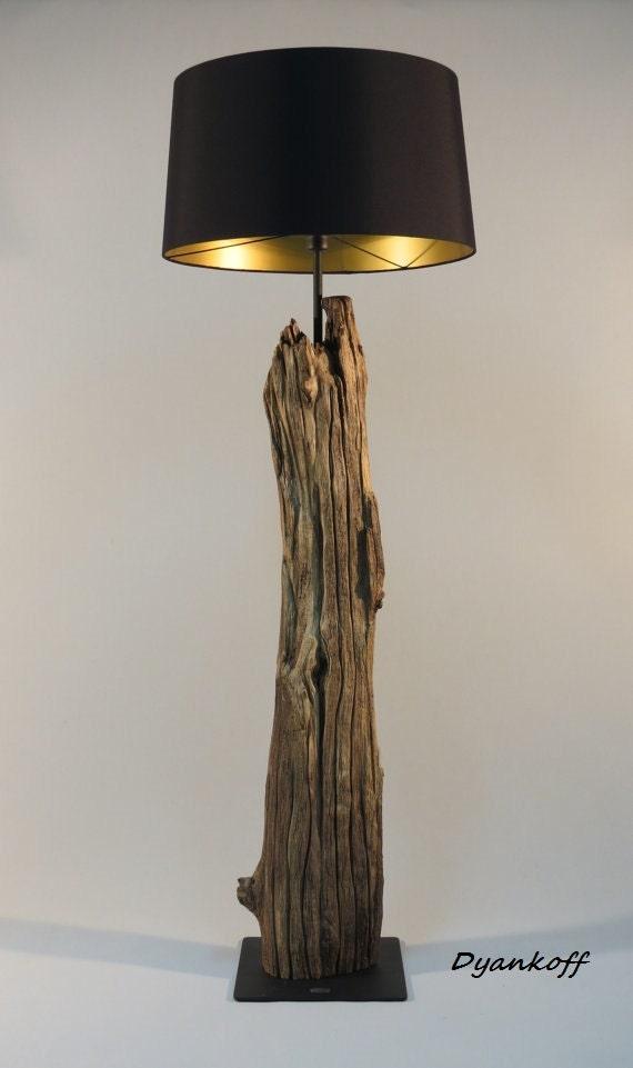 Ooak handmade floor lamp art wooden stand drum lampshade for Wooden floor lamp etsy