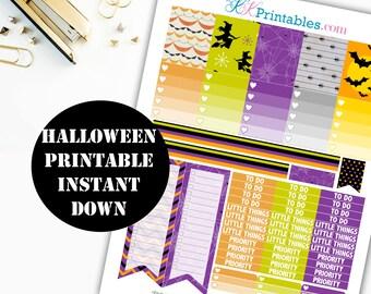 Halloween Printable Planner Stickers // Erin Condren Printable / Plum Paper Planner / Chevron Printable Digital Download 00109