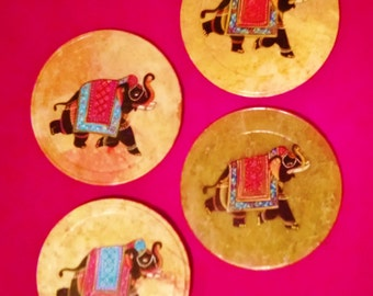 Set of 4 natural marble coasters with beautifully painted elephants,