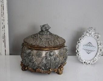Vintage Silver Gold Engraved Box
