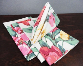 Vintage Pink and Yellow Tulip/Iris Napkins - 19 Square - Set of 4 - Mitered Corners, Gifts for Her Tea Party