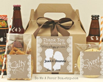 Rustic Wedding Favors,  6 Hotel Wedding Guest Boxes, Personalized Labels, Out Of Town Guest, Rustic Wedding, Burlap Favors, Kraft Gable Box