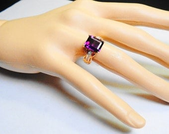 Amethyst Ring.  Natural Amethyst with Diamonds in a Gold Ring.