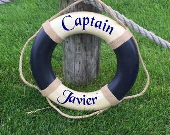 Personalized Name Captain Blue Vintage Nautical Life Ring - Cream and Blue - Nautical decor, Custom name, kids room decor, captain decor