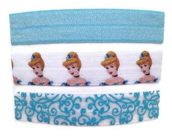 Cinderella Disney Princess Inspired Fold Over Elastic Hair Ties