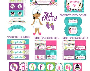 Spa Party Printables Package, Spa Birthday, Personalized Printable Decorations. Spa Party Supplies, Tan Spa girls, Hispanic Girls spa party